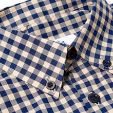Load image into Gallery viewer, Victor 1 Navy and putty gingham ghost check button down shirt