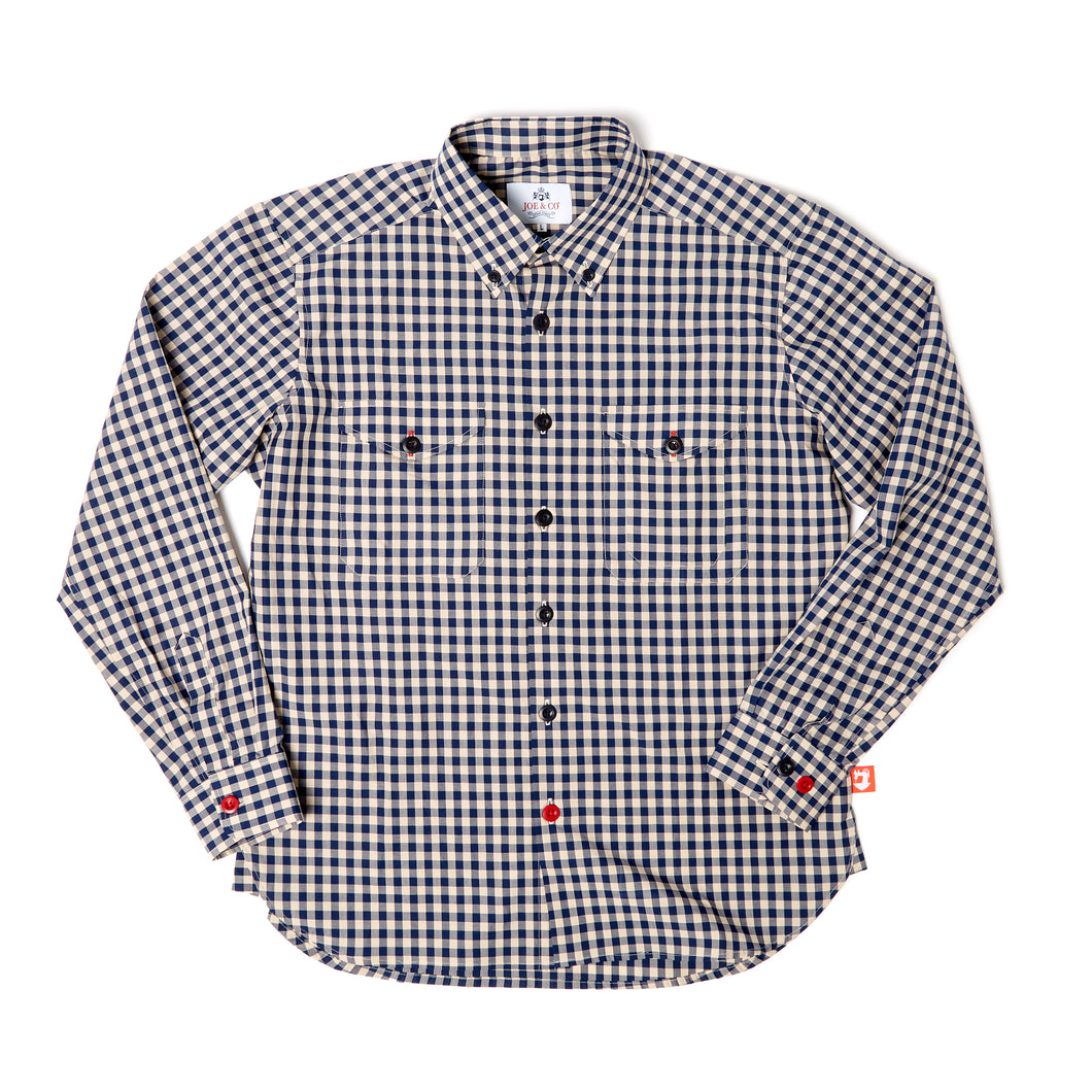 Victor 1 Navy and putty gingham ghost check button down shirt