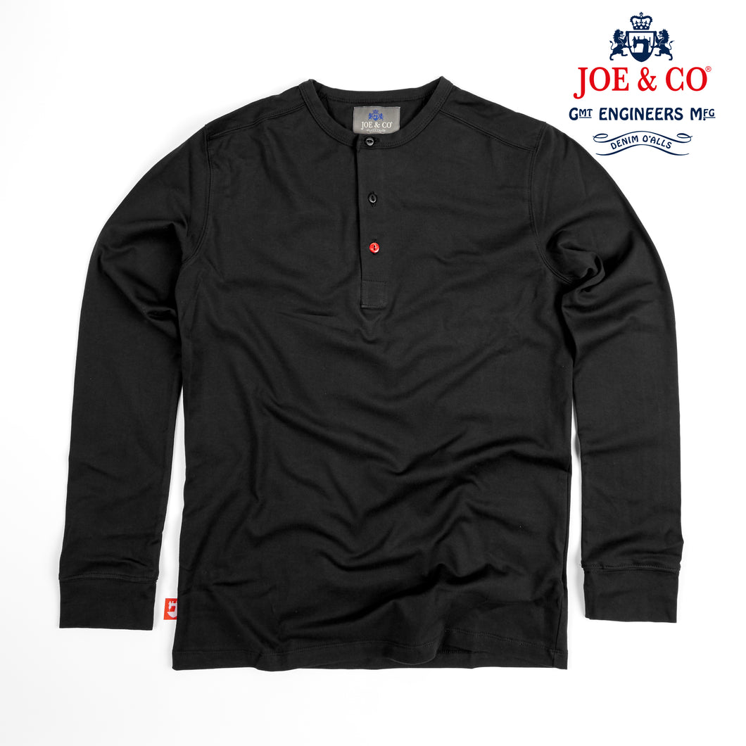 JCJ-002 THAMES - SUPIMA FINE COTTON 3 BUTTON LONG SLEEVE HENLEY