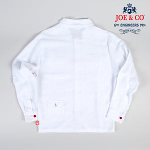 JCS-PAXTON 30 JOE & CO X POLAR WHITE PURE 100% LINEN OVER SHIRT