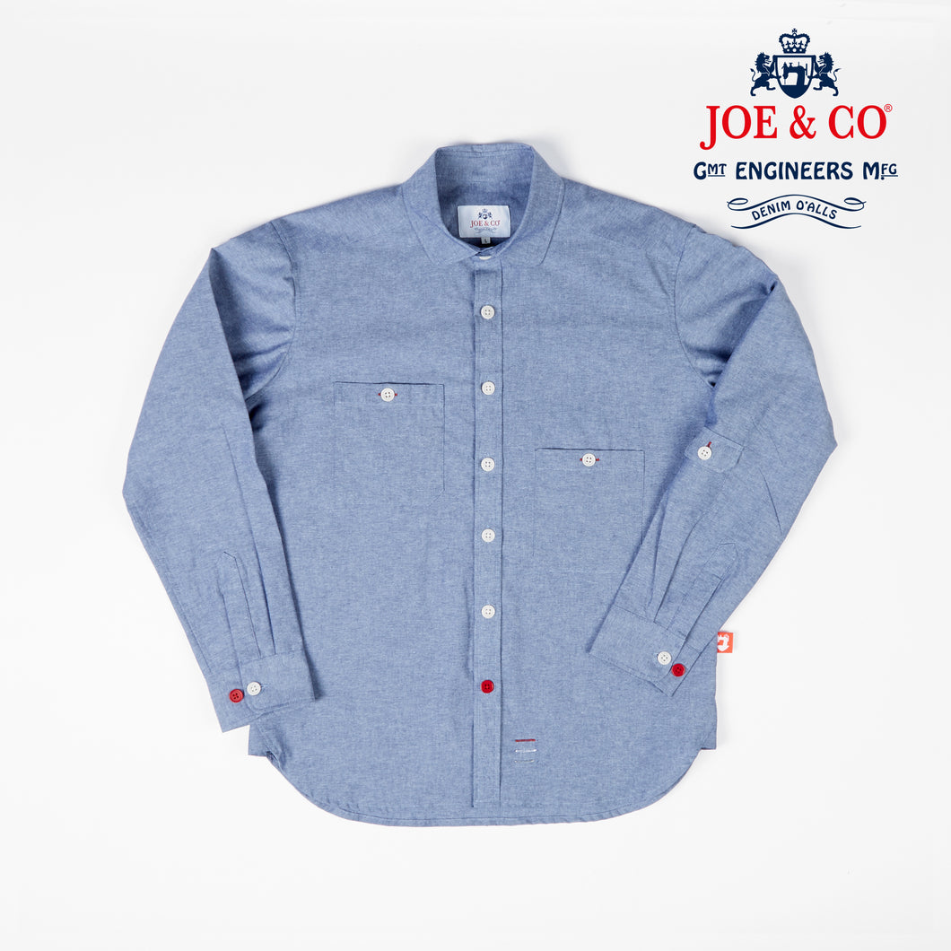 JCS-TALBOT-020 6oz LIGHT CHAMBRAY PENNY COLLAR WORK SHIRT