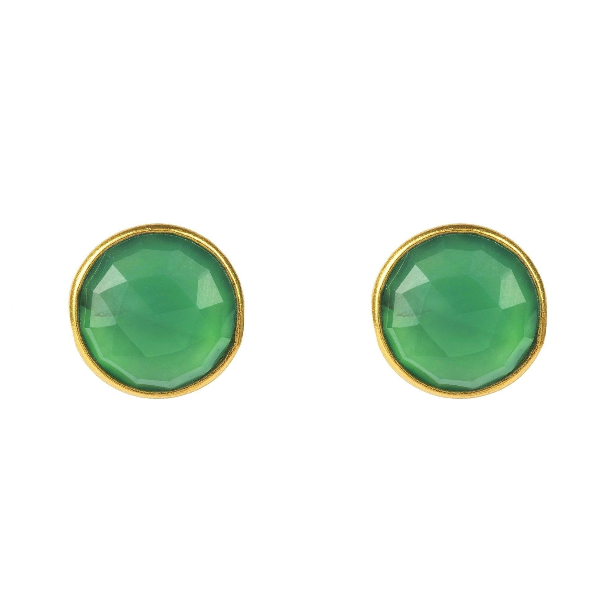 Medium Circle Stud Gold Green Onyx