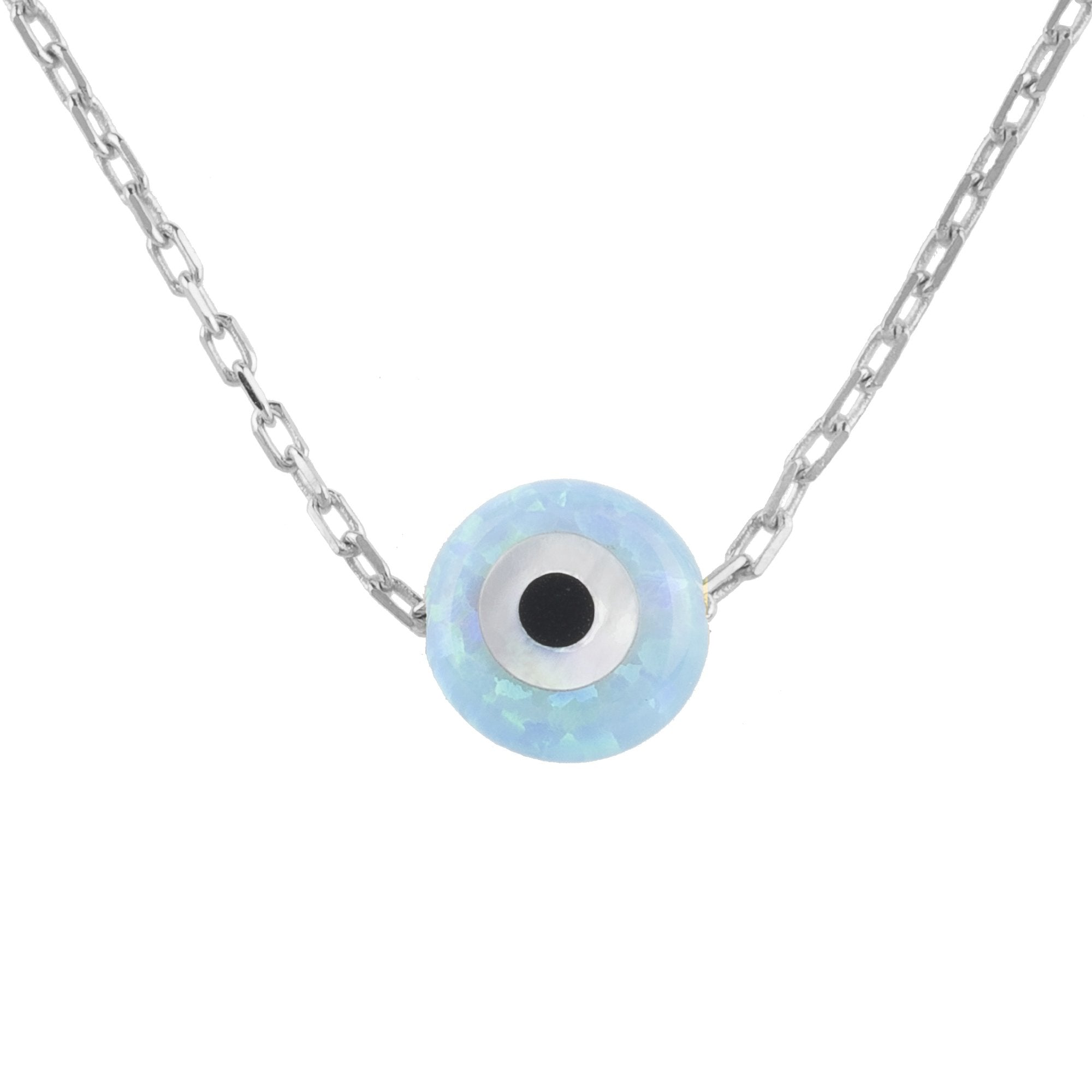 Mini Opalite Evil Eye Necklace Sterling Silver