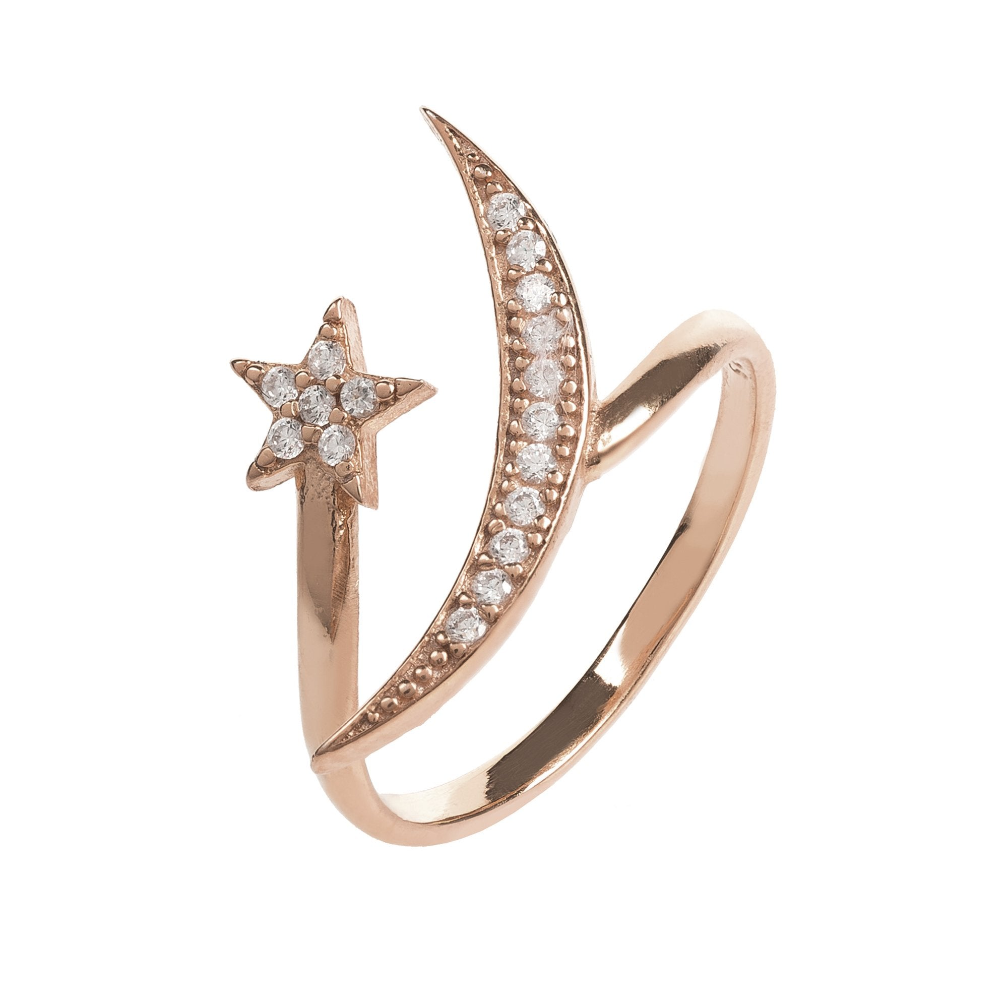 Moon and Star Ring Rosegold White CZ