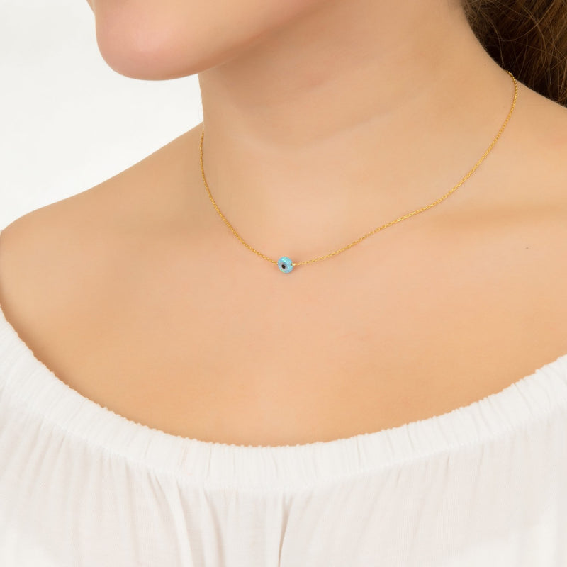 Mini Opalite Evil Eye Necklace Rosegold