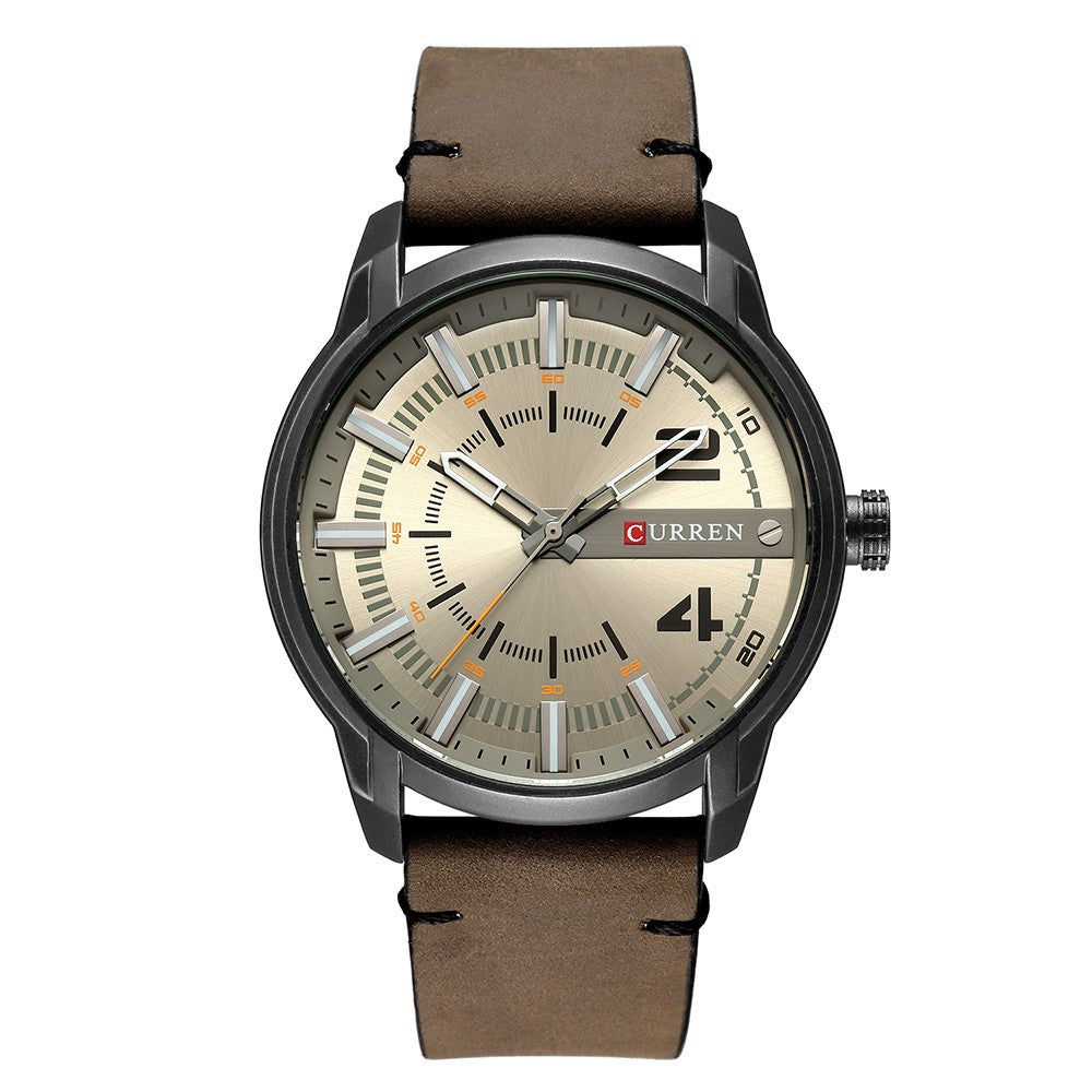 Relogio Men's Leather Watch