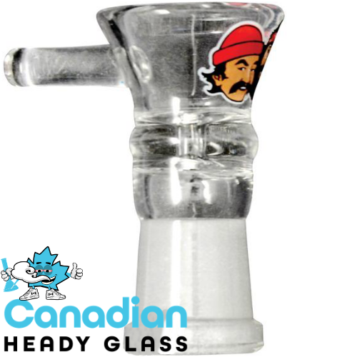 Cheech & Chong Glass 14mm Female Pull-Out W/ Red Accent Heads Logo