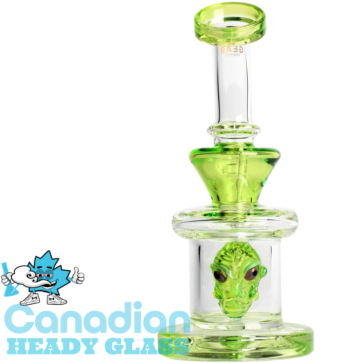 "GEAR Premium 7.5"" Tall Visitor Concentrate Bubbler with Sculpted Alien"
