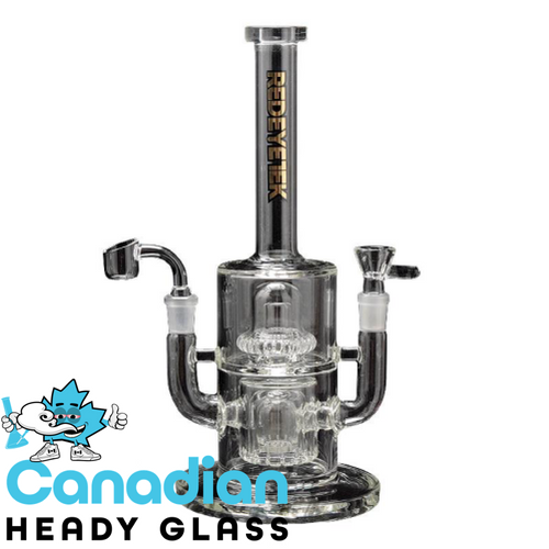 "Red Eye Tek 14"" Tall Twinning Dual Function Tube W/Double Can & Showerhead Percs, Pull-Out & Quartz Banger"