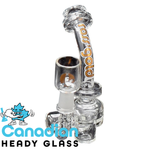 Ross' Gold Glass 4.5 Inch Tall The Bite Mini Concentrate Bubbler W/10mm Joint