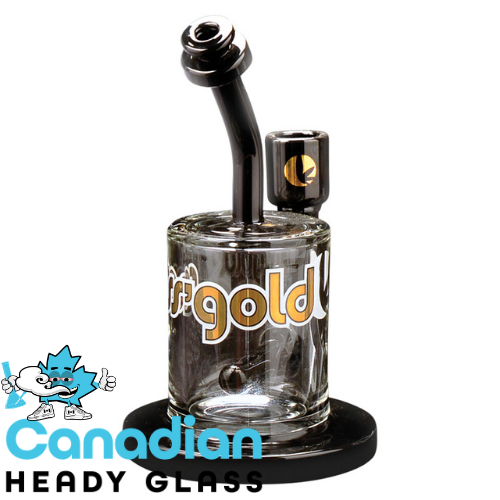 "Ross' Gold Glass 7"" Tall Black Magic Concentrate Bubbler W/Black Accents"