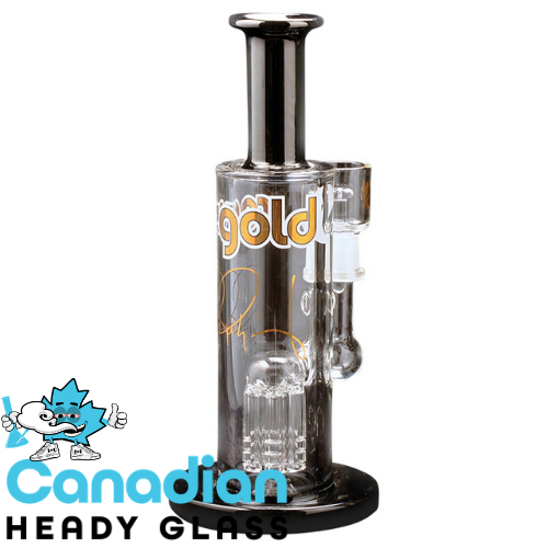 "Ross' Gold Glass 8.5"" Tall Log Jam Concentrate Bubbler W/Black Accents"