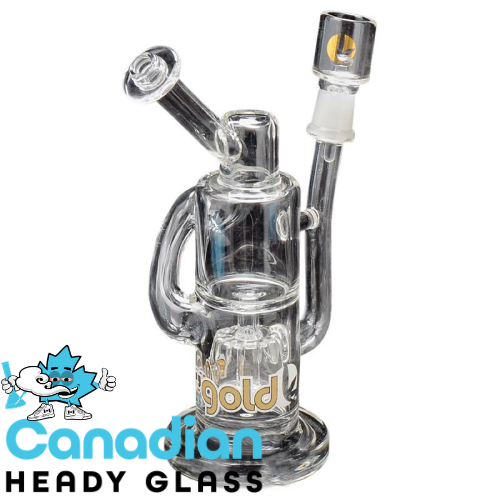 Ross' Gold Glass 8 Inch Tall Ridge Runner Concentrate Recycler