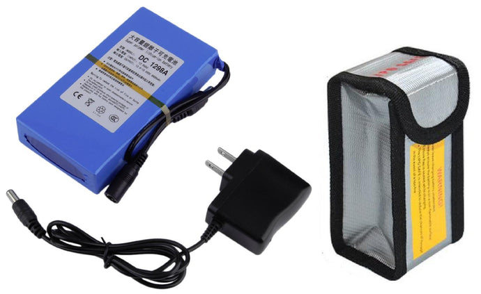 12V Lithium Ion Rechargeable Battery and Charger