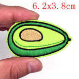 2 pcs Avocado Embroided Patches iron-on or sew-on