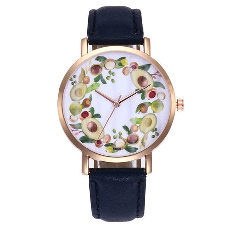Avocado Womens Quartz Watch with Leather Band