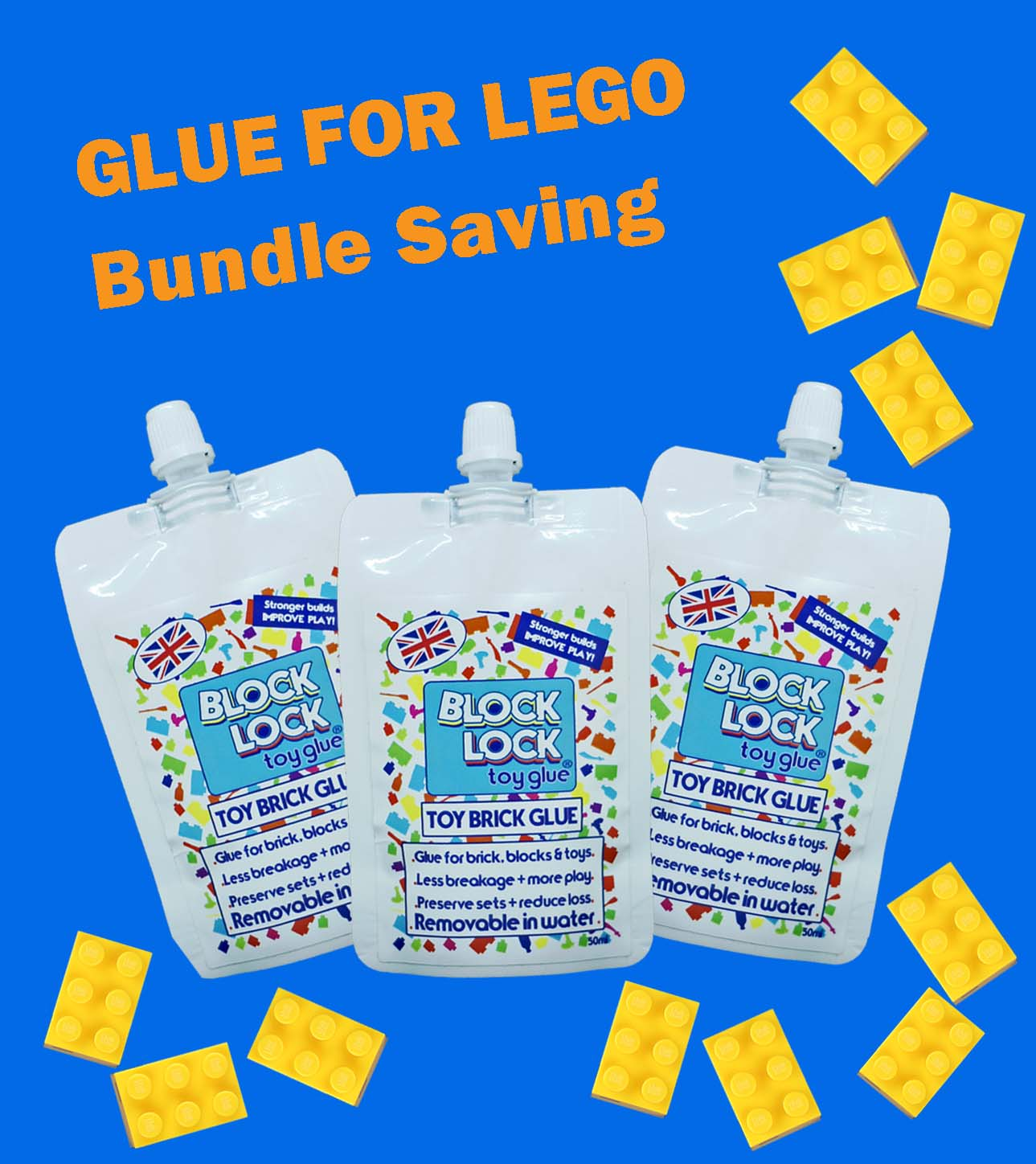 GLUE bundle 3 x 50ml pouch for TOY BRICKS  such as LEGO, Megabloks, Nanoblocks, Oxford and more