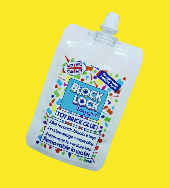 BLOCK LOCK Toy Glue SPOUT POUCH 50ml - for Toy BRICKS + BLOCKS + LEGO