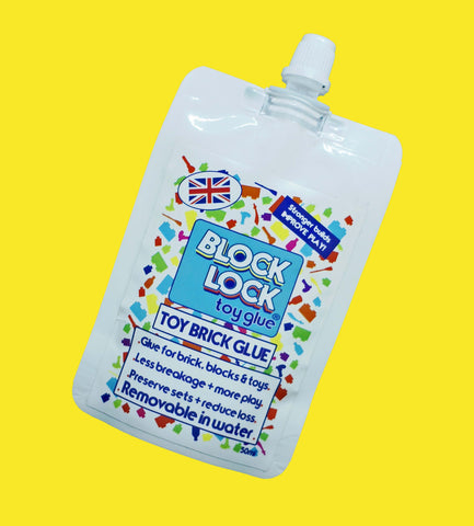 BLOCK LOCK Toy Glue SPOUT POUCH 50ml - pour Toy BRICKS + BLOCKS + LEGO