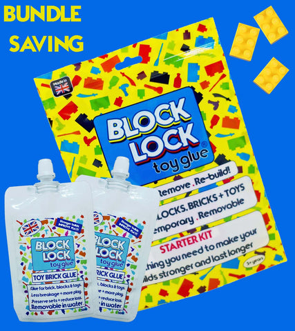 GLUE bundle 2 x Pouch + 1 x Kit. For TOY BRICKS such as LEGO, Megabloks, Nanoblocks, Oxford and more