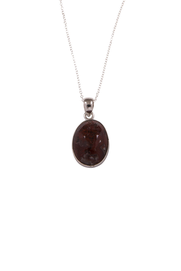 Jasper Oval Pendant Necklace