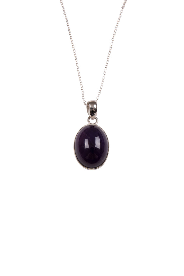 Amethyst Oval Pendant Necklace