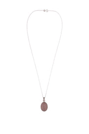 Rose Quartz Oval Pendant Necklace
