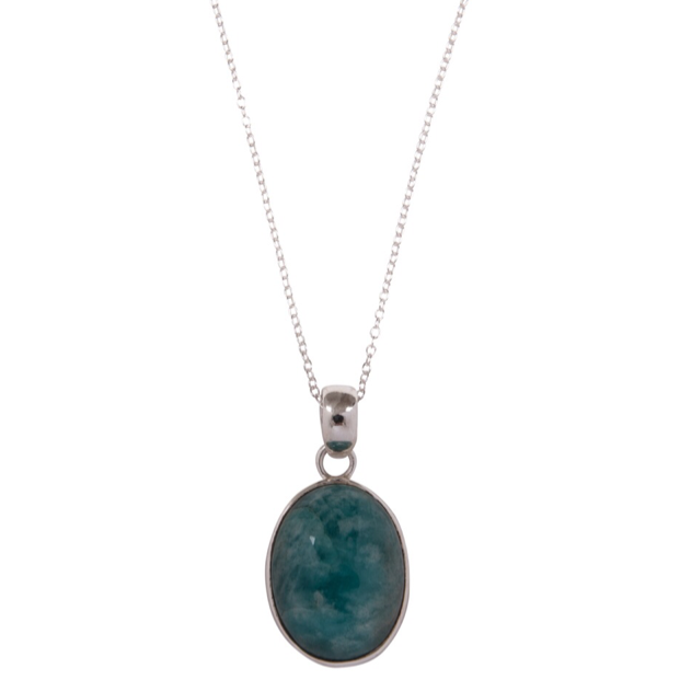 Amazonite Crystal Oval Pendant Necklace