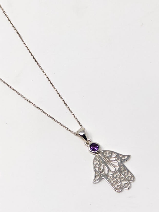 Sterling Silver Amethyst Healing Hand Necklace