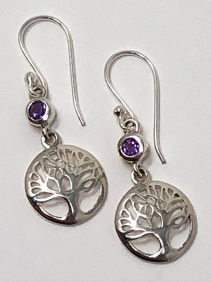 Amethyst Tree Of Life Earrings .925