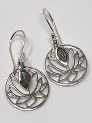 Labradorite Lotus Flower Earrings .925