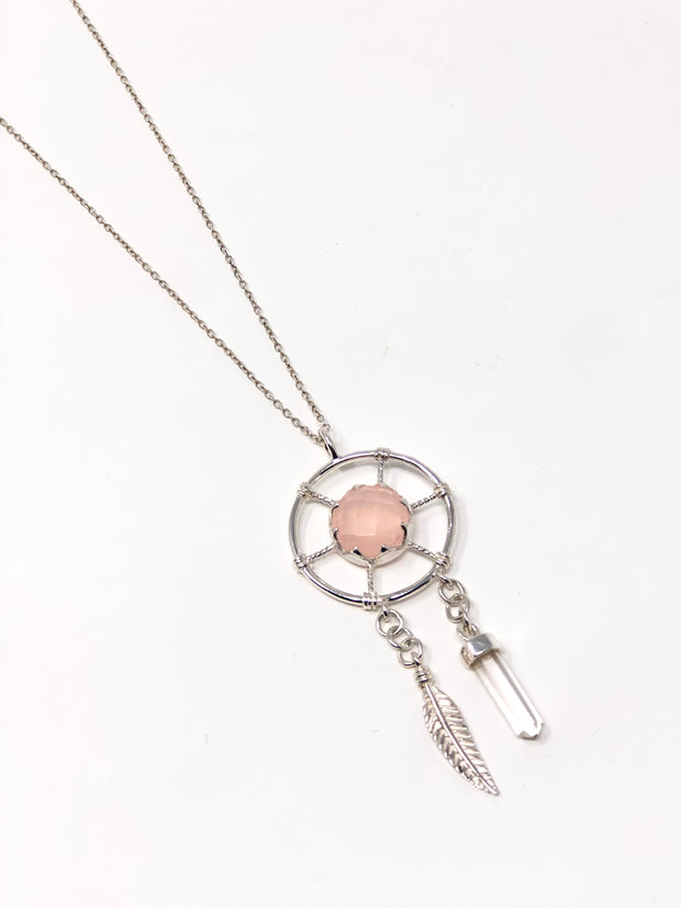 Sterling Silver Rose Quartz Dream Catcher Necklace