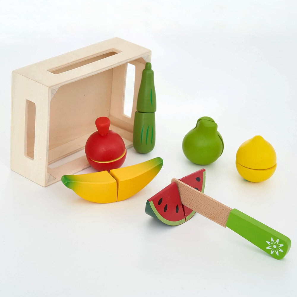 Hooga Wooden Play Food Chopping Toy Set