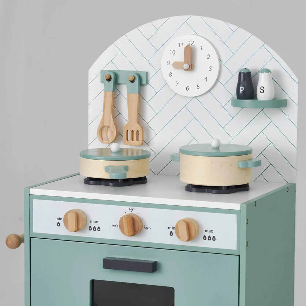 Hooga Kids Wooden Play Kitchen with 7 Utensils - Mint