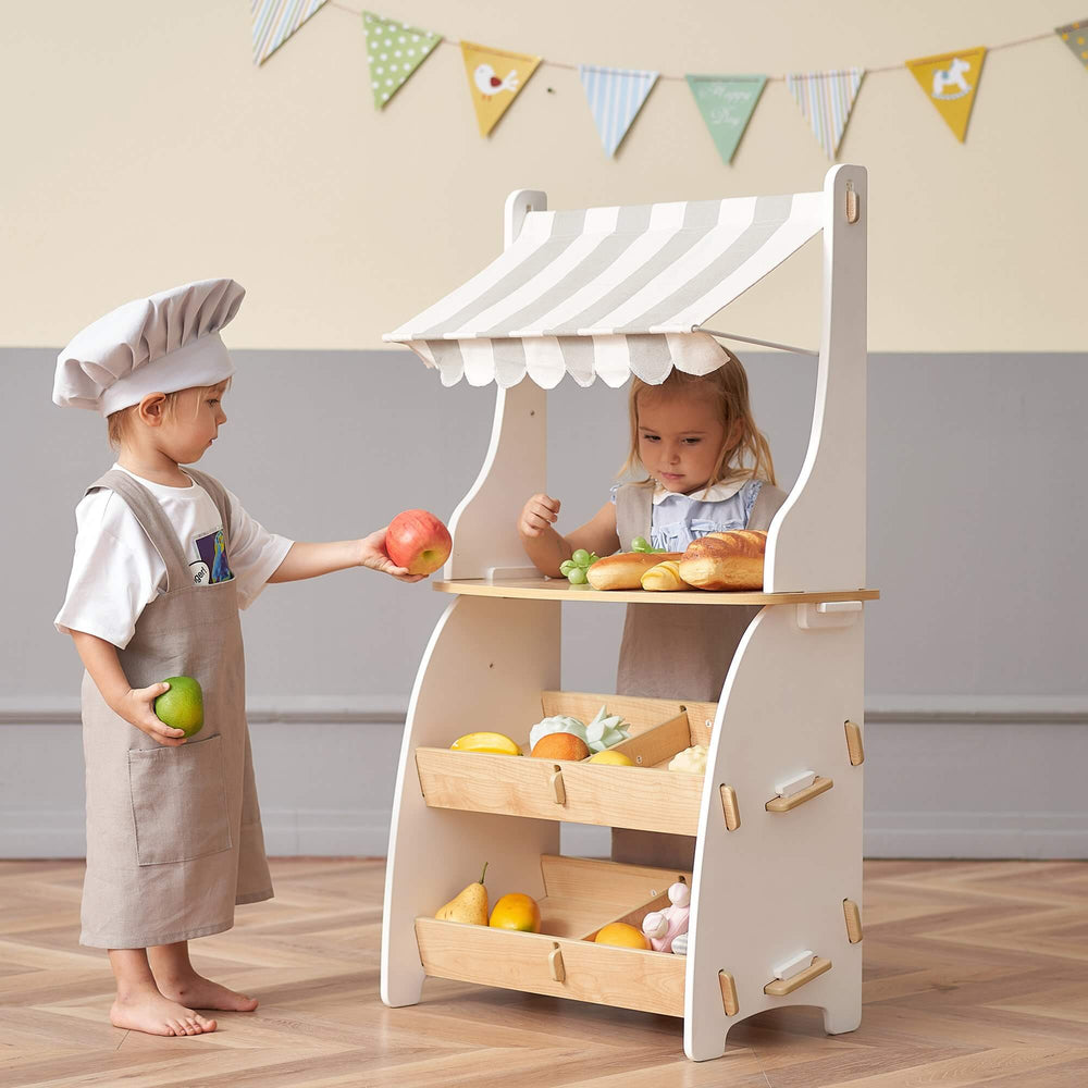 Hooga Kids Pretend Play Shop Wooden Market Stand