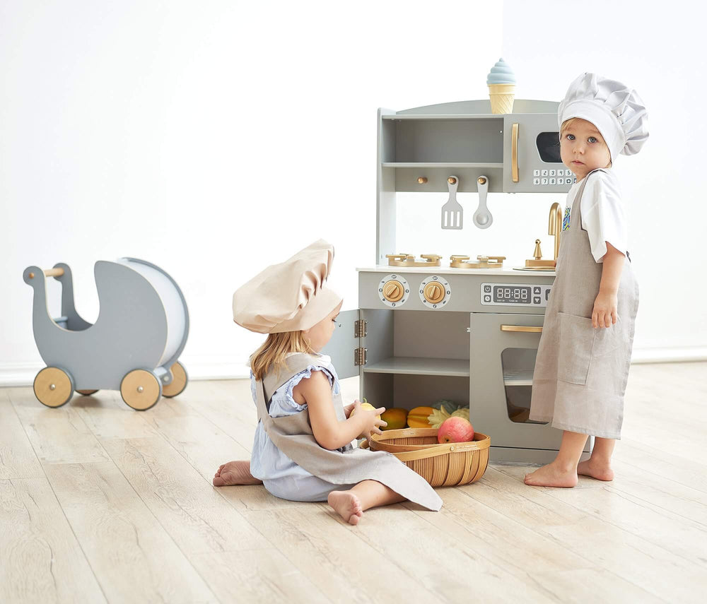 Hooga Kids Wooden Country Play Kitchen - Grey/Gold