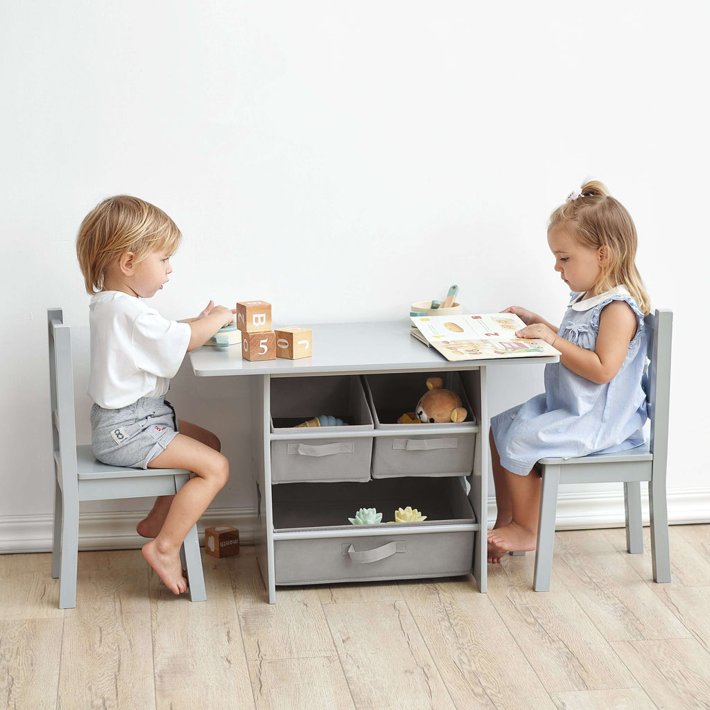 Hooga Kids Wooden Table and 2 Chairs Set with Storage - Grey