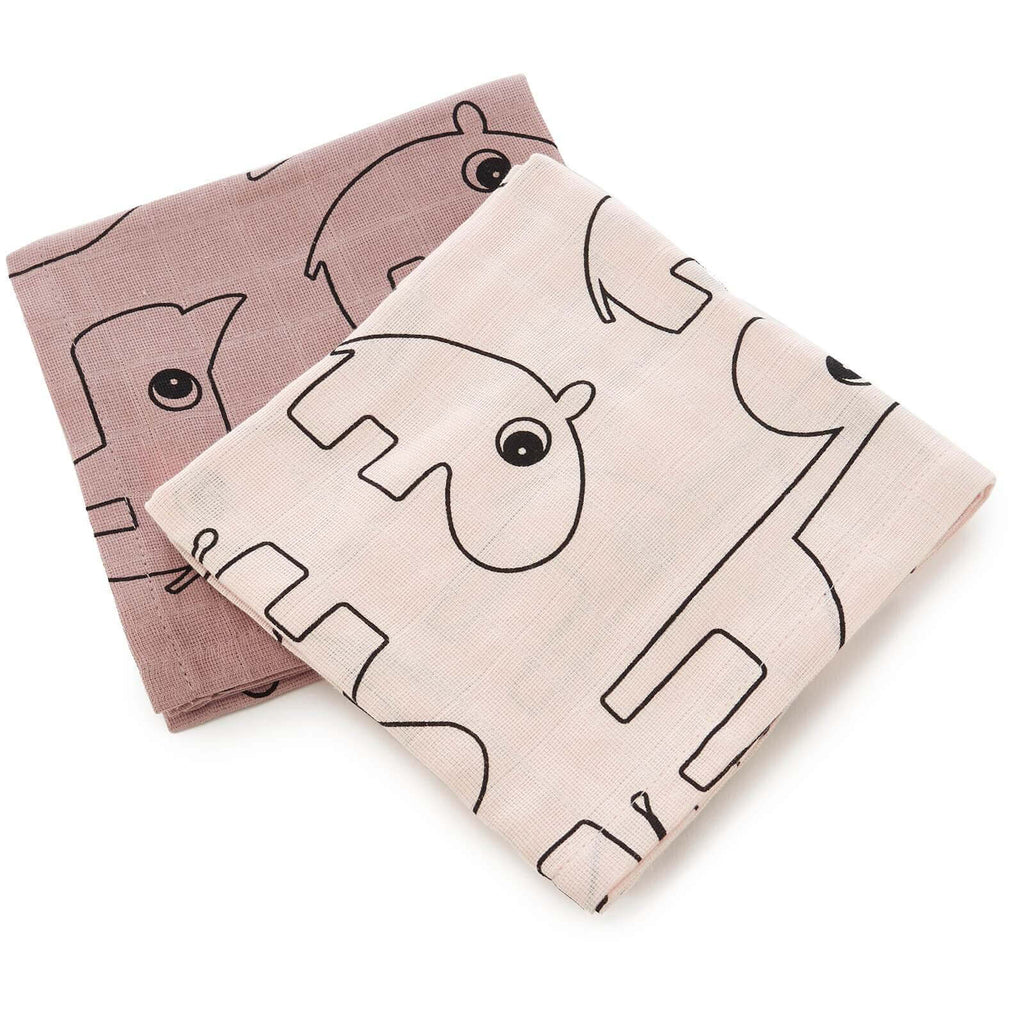 Done by Deer Muslin Square Contour Burp Cloth 2 Pack - Powder Pink