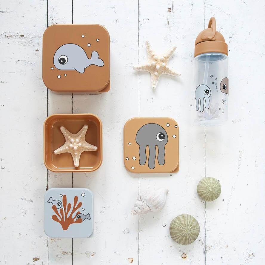 Done by Deer Snack Box Set 3PCs - Sea Friends Mustard/Grey