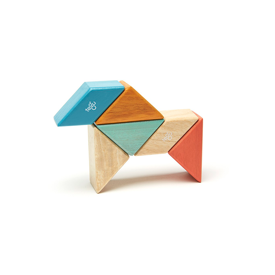 Tegu Pocket Pouch Prism Magnetic Wooden Blocks 6PCS - Sunset