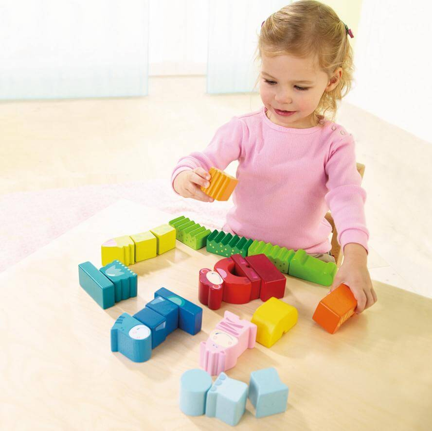 HABA Wooden Blocks Eeny, Meeny, Miny, Zoo Set 25 Pcs