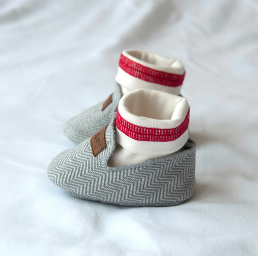 Juddlies Organic Cottage Slippers 0-3 Months - Driftwood Grey