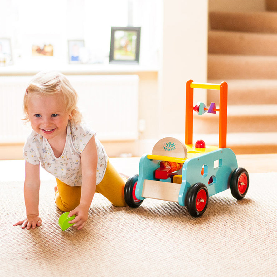 Vilac Baby Walker 3 in 1 Push Along Wooden Trolley
