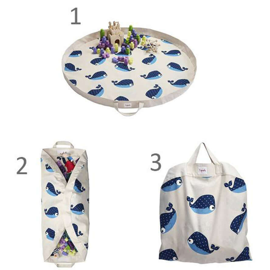 3 Sprouts Play Mat Toy Storage Bag - Whale