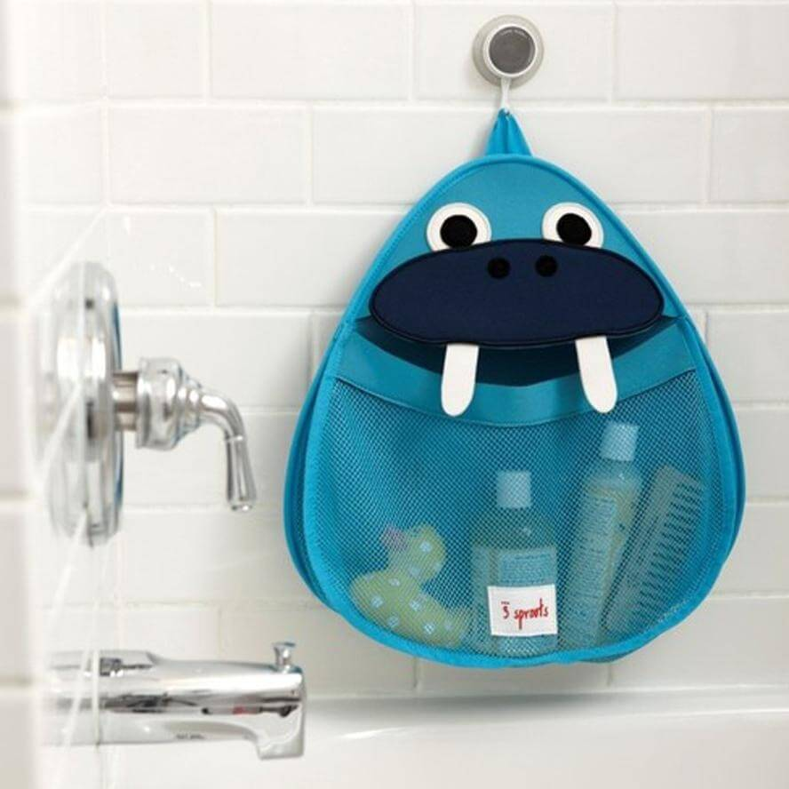 3 Sprouts Bath Storage - Blue Walrus - Bathtime
