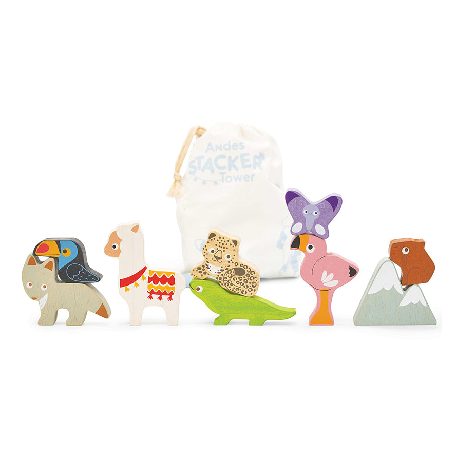 Le Toy Van Andes Stacking Animals & Bag
