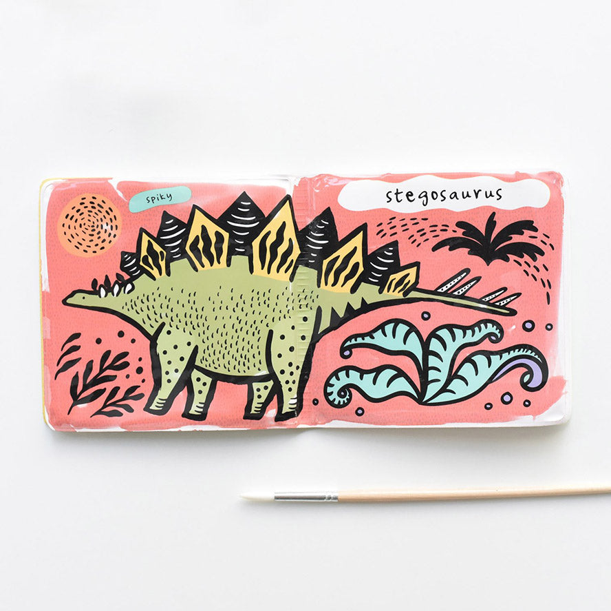 Wee Gallery Bath Book Colour Me - Dinosaurs