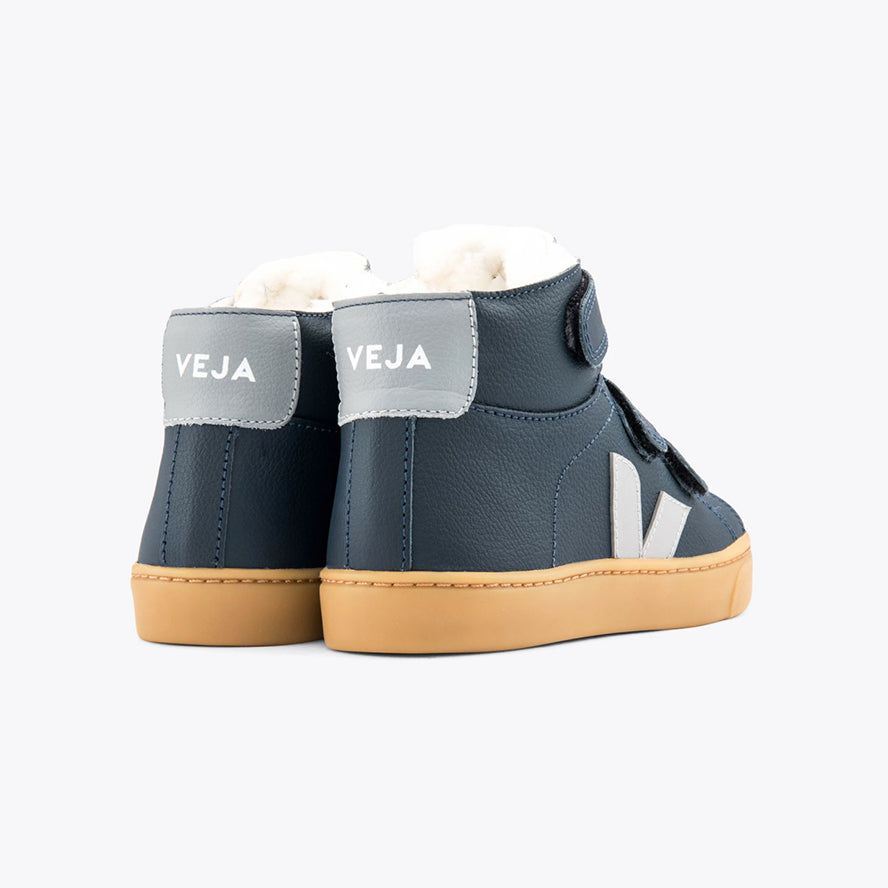 Veja Esplar Velcro Mid Trainers with Fur Lining - Nautico Oxford Grey