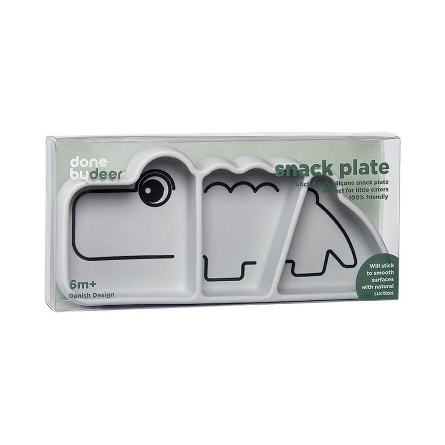 Done by Deer Silicone Stick & Stay Kids Plate Croco - Grey