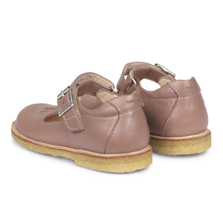 Agulus Mary Janes With Velcro and Buckle Shoe - Plum